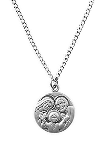 (Patron and Protector Medals Sterling Silver Holy Family Dime Size Medal Pendant, 3/4 Inch)
