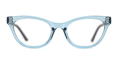 TIJN Super Inspired Mod Fashion Cat Eye Glasses Clear Lens Eyewear Frame (Clear Blue, 51-20-145)