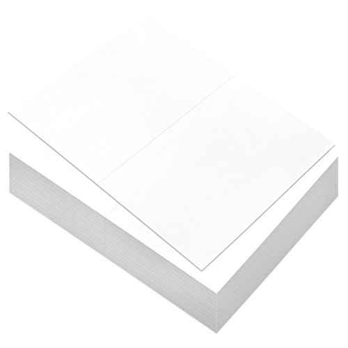 Folding Note (100 Sheets White Greeting Card Stock - Half Fold Greeting Cards for Laser Printers, Printable Blank Note Cards, 8.5 x 5.5 Inches Folded)