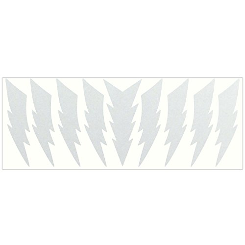 LiteMark Reflective White 4 Inch Lightning Sticker Decals for Helmets, Bicycles, Strollers, Wheelchairs and More - Pack of 9