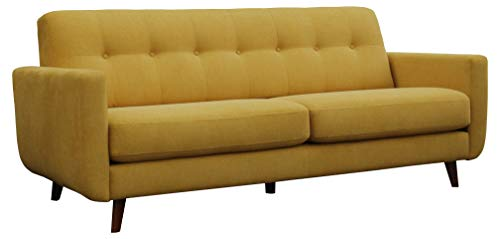 "Amazon Brand – Rivet Sloane Mid-Century Modern Sofa with Tufted Back, 79.9""W, Yellow"