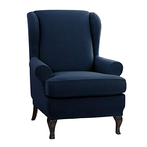 (CHUN YI 2-Piece Rhombus Jacquard Universal Wing Back Wingback Armchair Chair Cover Slipcovers (Wing Chair, Dark Blue))