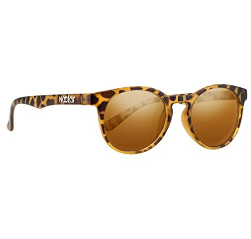 Nectar IPA - Brown Tortoise Shell Round Eye Polarized Sunglasses with Dark Gold Lenses and UV - Glasses Nectar
