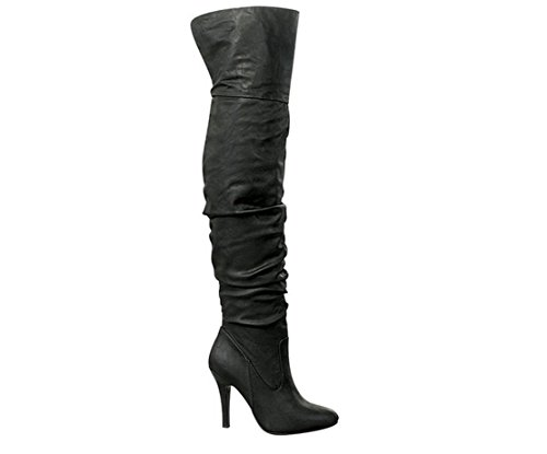 Black High Boots (Forever Link Focus-33 Women's Fashion Stylish Pull On Over Knee High Sexy Boots (10 B(M) US, Black Pu))