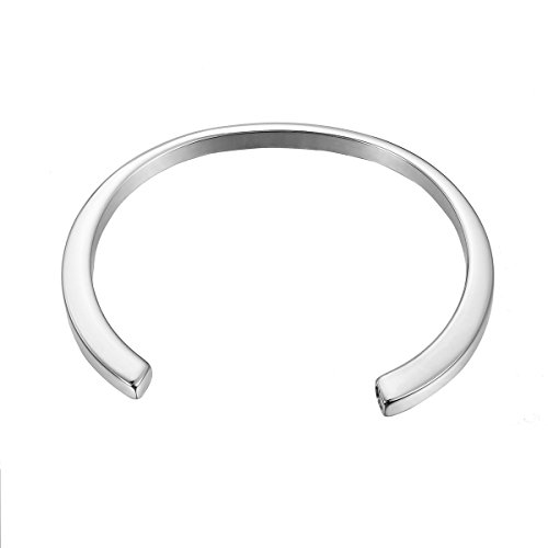 Steel Sand Cuff Stainless Bracelet (VALYRIA Silver Tone Smooth Cremation Bracelet Keepsake Ashes Memorial Jewelry)