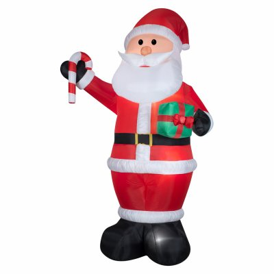 GEMMY INDUSTRIES 12', Giant, Airblown Santa with Gift & Candy Cane