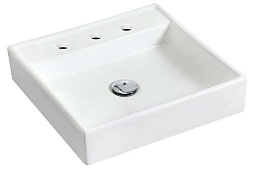 Raised Vessel Faucet - American Imaginations AI-1121 Wall Mount Square White Ceramic Vessel With 8-in. o.c. Faucet Drilling