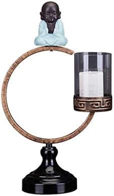 中国の禅キャンドルホルダー小型モンク錬鉄装飾ポーチ研究デコレーションシンプルなレトロキャンドルシェルフ (Size : B)
