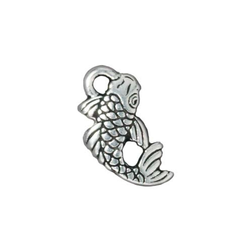 (TierraCast Fine Silver Plated Pewter Koi Japanese Fish Charm 17mm (1) )