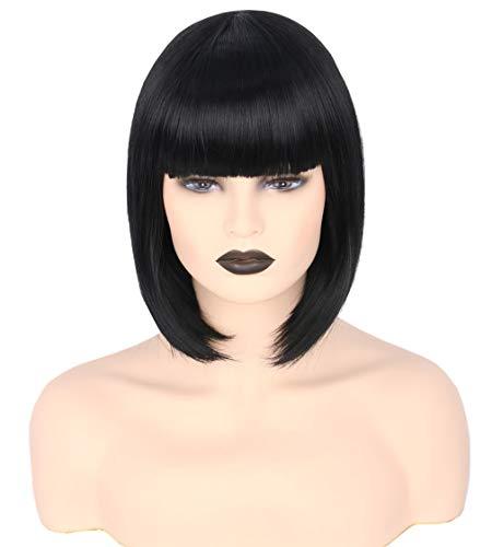 Powerpuff Girls Wigs (Topcosplay Womens Bob Hair Wigs Short Black Flat Bangs Cosplay Halloween Costume)