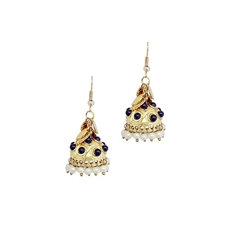Moonstruck Fashion Jewelry Traditional Indian Ethnic Jhumka Earrings with Kundan and Pearl for Women ()