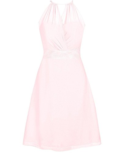 Women's Light Chiffon pink Bridesmaid Prom Wedding Cdress Halter Short Evening Gowns Lace Dresses BOdWpqcP