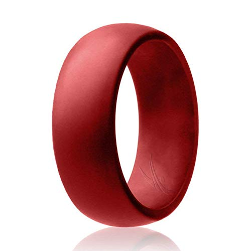 ROQ Silicone Wedding Ring for Men Affordable Silicone Rubber Band, Red - Size 10]()