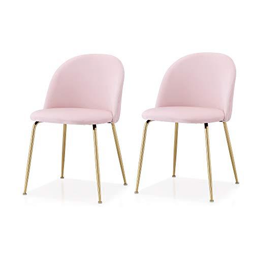 Meelano M60 Modern Velvet Chair, Set of 2, Light Pink, Gold Finish ()