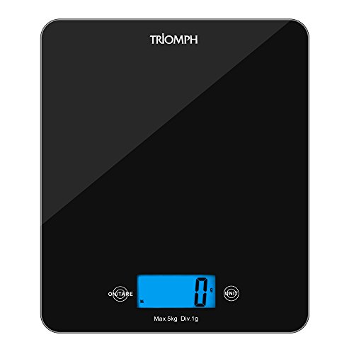 Triomph Digital Kitchen Scale Multifunction Food Scale with Backlit LCD Display, Templered Glass Platform, 11 lb/ 5 KG Capacity Black