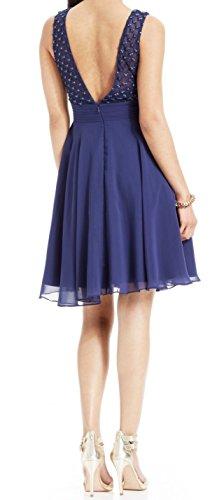 JS Boutique Women's Navy Beaded V-Neck Chiffon Sheath Dress Blue 8