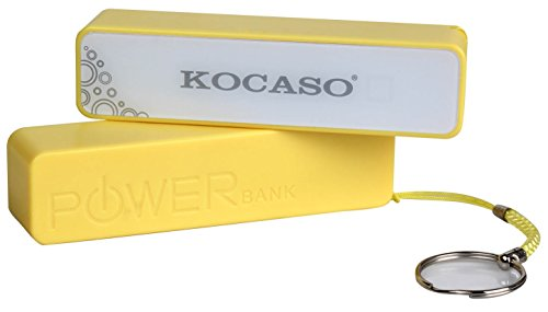 Kocaso 2600mAh Power Bank for cellphones Samsung, HTC, Sony, iPhone/iPod or other electronic products with DC-5V input in Yellow ()