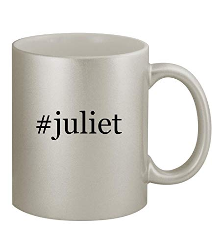 #juliet - 11oz Hashtag Silver Coffee Mug Cup, Silver (Gnomeo And Juliet Ii)