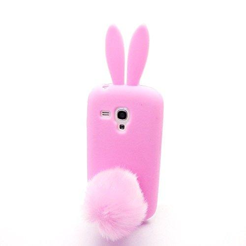 Galaxy S3 SIII Mini I8190,Anya 3D Cute Bow Classic Cartoon Animal Series Soft Rubber Silicone Back Shell Case Cover Skin for Samsung Galaxy S3 S III Mini I8190 Rabbit Pink