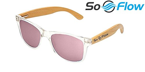 SoFlow Polarized Light Pink Wooden Bamboo Sunglasses for Women or Men - Wood Sunglasses - Clear Front Frame - Pink Polarized Lens - Cool Beach Sunglasses - Medium/Large Fit - - Clear Cheap Sunglasses