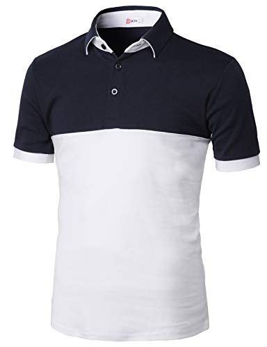 H2H Mens Casual Color Block Point Short Sleeve Cotton Polo T-Shirts Navy US 3XL/Asia 4XL (KMTTS0554)