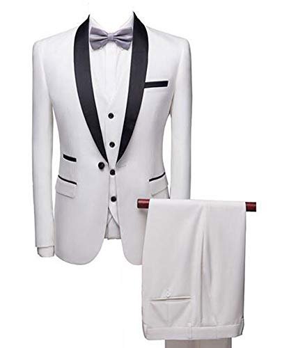 Botong White Shawl Lapel Men Suits 3 Pieces Wedding Suits for Men Groom Tuxedos White 44/38 (Best Suit Design For Groom)