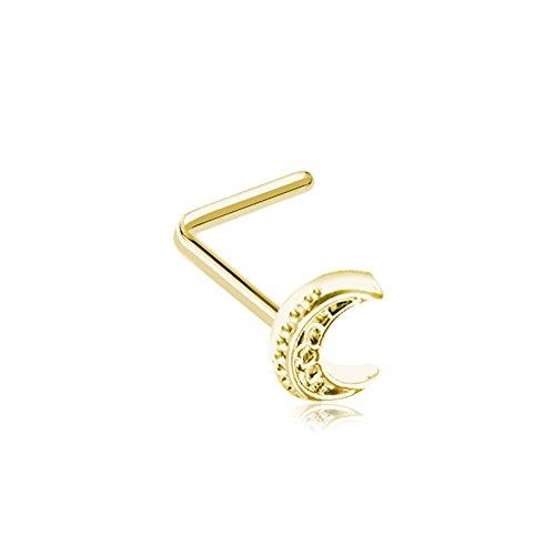 Golden Nose (Filigree Moon L-Shape Nose Ring (Sold Individually) (Golden))