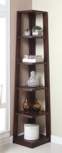 Review Five Tiers Corner Bookshelf in Walnut Finish By H-M SHOP by H-M SHOP