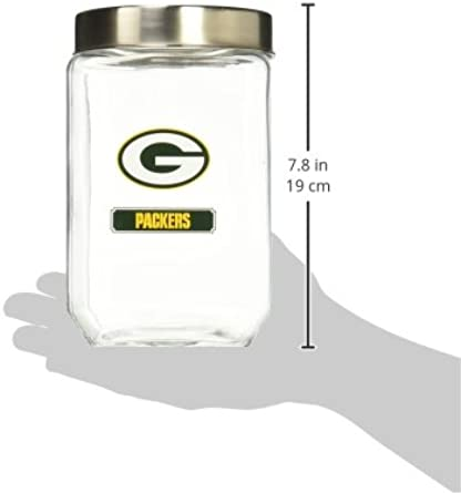Green Bay Packers Jar Glass Container Canister With Lid Medium