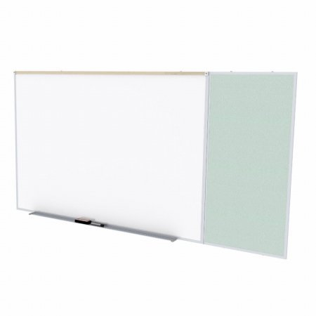 Ghent SPC48C-V-193 4 ft. x 8 ft. Style C Combination Unit - Porcelain Magnetic Whiteboard and Vinyl Fabric Tackboard - Silver by Ghent