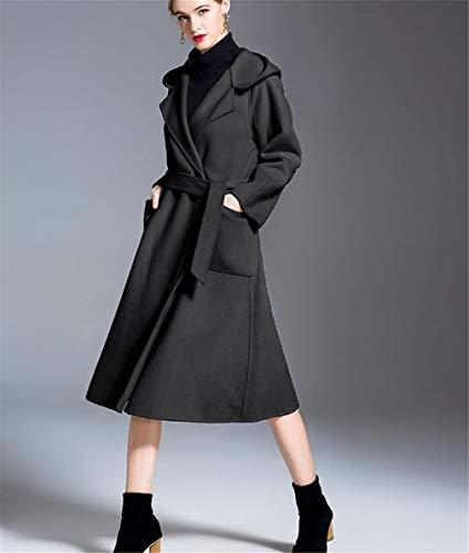 Cashmere Double Black Donna America Lana Con Cappuccio In E Solido Giacca z Face Elegence Temperato Europa Di Da Colore xFUWtnYqRw