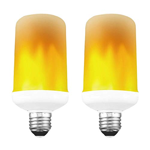 LED Flame Effect Ambient Bulb, 2W, Gravity Sensor, Flickering Flame Effect, Soft White, 1800K, E26 Medium Base, UL Listed (2 Pack)