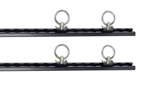 Pit Posse 4' Aluminum S Track Tie Down Rails Set of 2 – Heavy Aircraft Quality Aluminum - Adjustable - For Flatbed, Truck, Cargo, Van, Enclosed Trailer - Automotive Accessories– 5 Year Warranty- Black