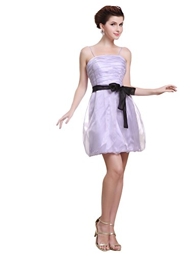 Strapless Mini Length Satin - Angel Formal Dresses Strapless Spaghetti Straps Mini Length Satin Evening Dress (6, Lavender)