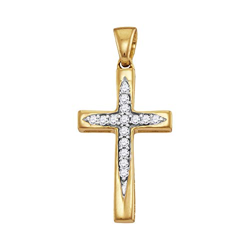 10k Yellow Gold Diamond Christian Cross Pendant 1/10 ct (Gold Genuine Diamond Cross)