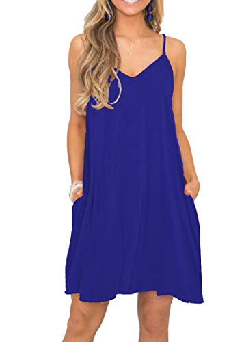 MISFAY Women's Summer Spaghetti Strap Casual Swing Tank Beach Cover Up Dress with Pockets (2XL, Royal Blue)