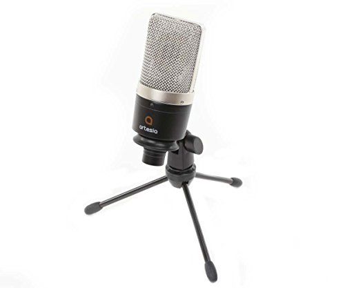 Amc Cables - Artesia AMC 10 Cardioid Condenser Microphone With Pop Filter 8 inch XLR Cable and Tripod Stand