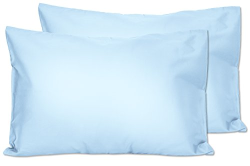 2 Light Blue Toddler Pillowcases – Envelope Style – for Pillows Sized 13×18 and 14×19-100% Cotton with Percale Weave…
