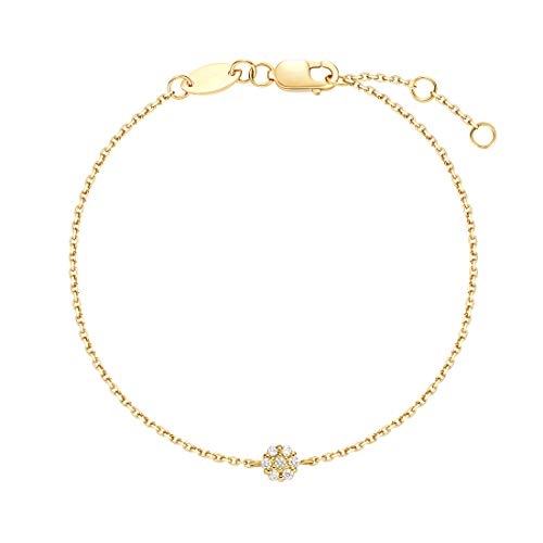 (Carleen 18K Solid Yellow Gold Minimalist Dainty Round Floral Pave Diamond Bracelet Delicate Fine Jewelry for Women Girls)