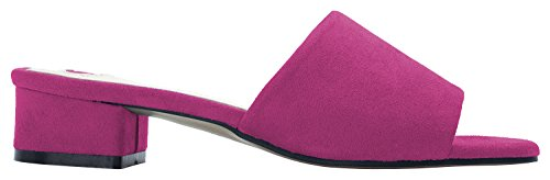 Annakastle Womens Coloured Mule Slipper Hak Sandaal Faux Suede - Magenta