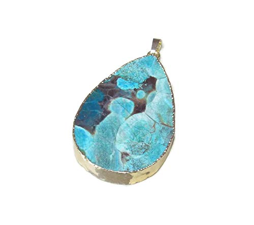 Beautiful Ocean Jasper Pendant - Ocean Jasper Pendant - Ocean Jasper Druzy Slab Pendant - Blue Mint Green Rose White Color Matrix - Gold Plated Edge and Bail - 50mm - 55mm