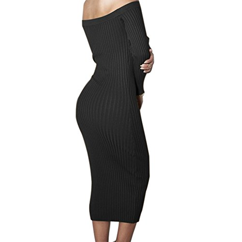 Yizenge Long sleeve Off Shoulder Sweaters Sexy Autumn Soft Tight Elastic Dress (M, ()