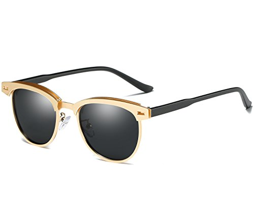 Joopin Semi Rimless Polarized Sunglasses Women Men Retro Brand Sun Glasses (Gold Metal Frame, as the - Mens Sunglasses Gold Frame