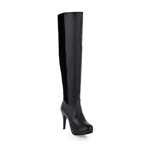 AmoonyFashion Womens Closed Round Toe High Heels Velvet?Lining PU Assorted Colors Boots with Stiletto Black WK9WWkxk7