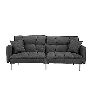 BHDesign Ashley – Canapé Convertible Design – Tissu – Coloris Gris foncé