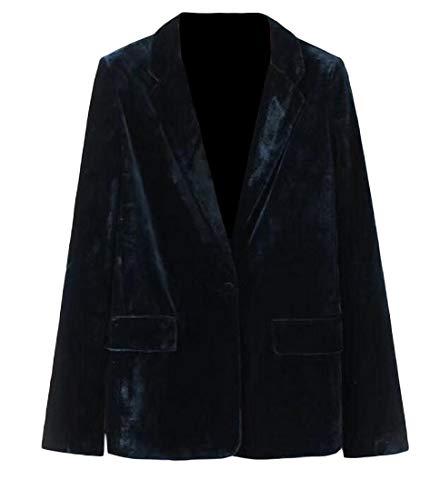 Joe Wenko Women's One Button Vogue Velour Fall/Winter Lapel Collar Blazer Jackets Blackish Green - Velour Blazer
