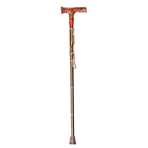 TSAR003 Walking Stick Adjustable Collapsible, Elderly People Aid Equipment, Crutch Aluminum Alloy Hiking Equipment, LED Warning Light Lighting Non-Slip,Brown by TSAR003