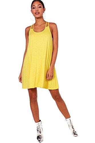 YourPrimeOutlet Damen Gelb Maisie Ausgestelltes Kleid mit doppelten ...