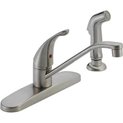 Peerless P88501lf Ss W Single Kitchen Faucet Stainless Steel With Side Sprayer