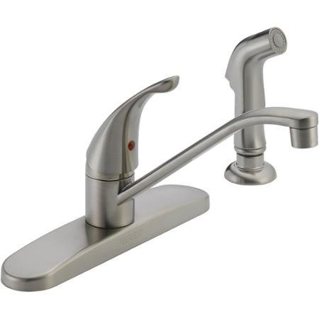 Peerless P88501LF-SS-W Single Kitchen Faucet Stainless Steel with Side Sprayer (Certified Refurbished)